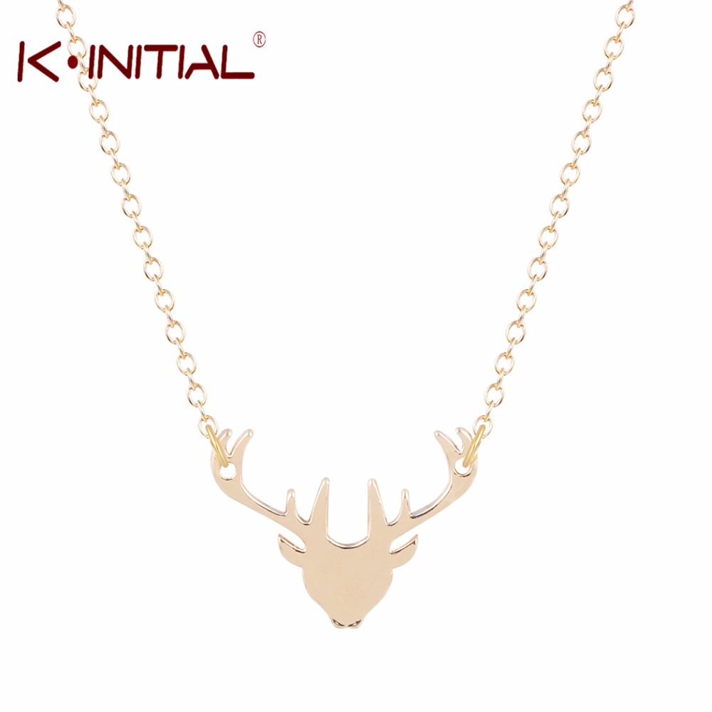 Kinitial 1Pcs Gold Silver Stag Necklace Dainty Deer Head Necklace Expecto Patronum Guardian Necklace Women Charms Jewelry