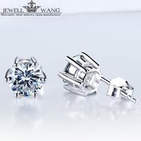 JEWELLWANG 18K White Gold Stud Earrings Love 0.50 Carat Certified Moissanites Stone for Women/Men Brilliant Fine Jewelry Gift