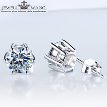 JEWELLWANG 18K White Gold Stud Earrings Love 1.00CT Carat Certified Moissanites Stone for Women/Men Brilliant Fine Jewelry Gift