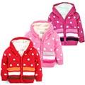 Baby Girls Sweater Red&pink Cardigan Ropa De Winter Fleece Warm Long Sleeves Dot Printed Boys Knitted Hooded Coat Jy441