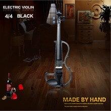 Высокое качество, черный 4/4 скрипка отправить скрипка Жесткий Чехол, ручная работа белая электрическая скрипка с линиями электропередачи и части скрипки