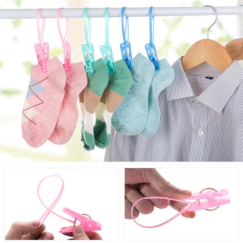 Robe Hooks Nice 12pcs Colorful Clothespins Hook Laundry Clips Multipurpose Bra Socks Hanger Pegs Drop Ship
