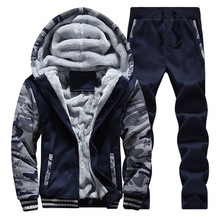 Mens Tracksuit Sets Fleece Zipper Hooded Jacket + Pants Sporting Suit Camouflage Sleeve Hoody New Winter Sweat Suits Brand