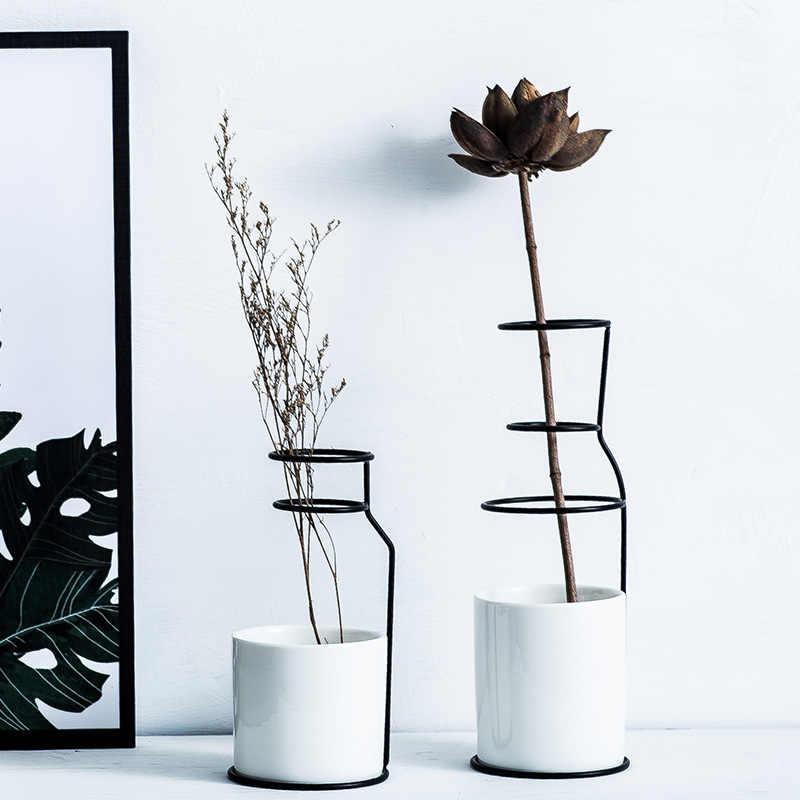 Скандинавский стиль керамическая железная художественная ваза золотой черный стол цветочный горшок минимализм украшения дома аксессуары для растений гостиной