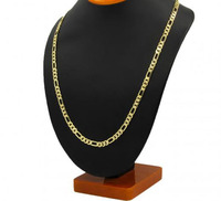 Mens 14k Gold Plated 8mm Italian Figaro Link Chain Necklace 24 Inches