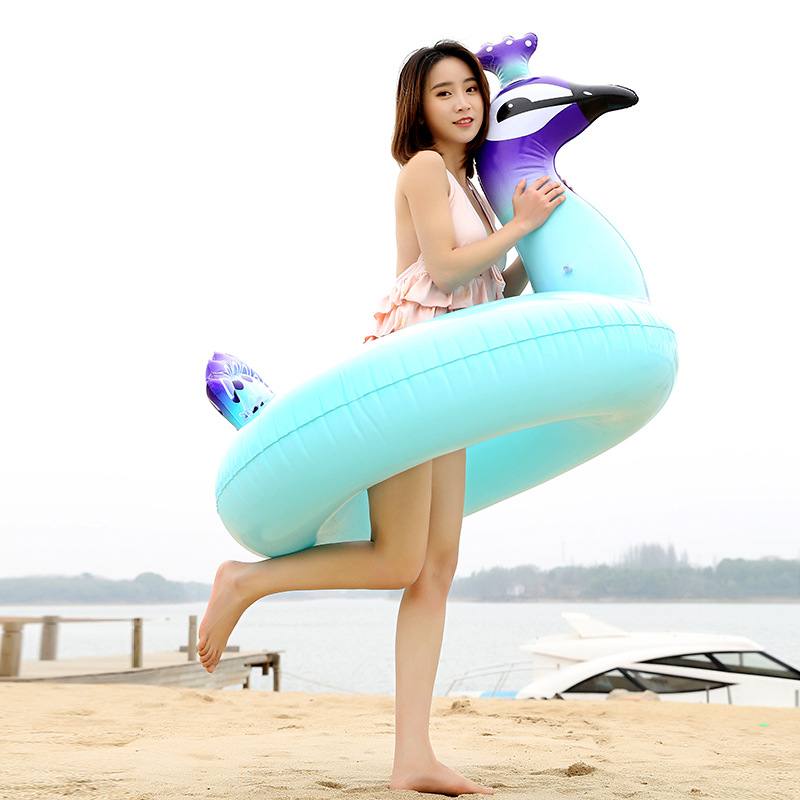 Thickened PVC Underarm Swim Rings Inflatable Adult Swim Rings Peacock Water Toy