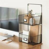 Home Office Organiser Office Storage Desk Organisation Hanging Rack Basket Metal Bedroom Bath Room Table Decoration Black White|Home Office Storage| |  -