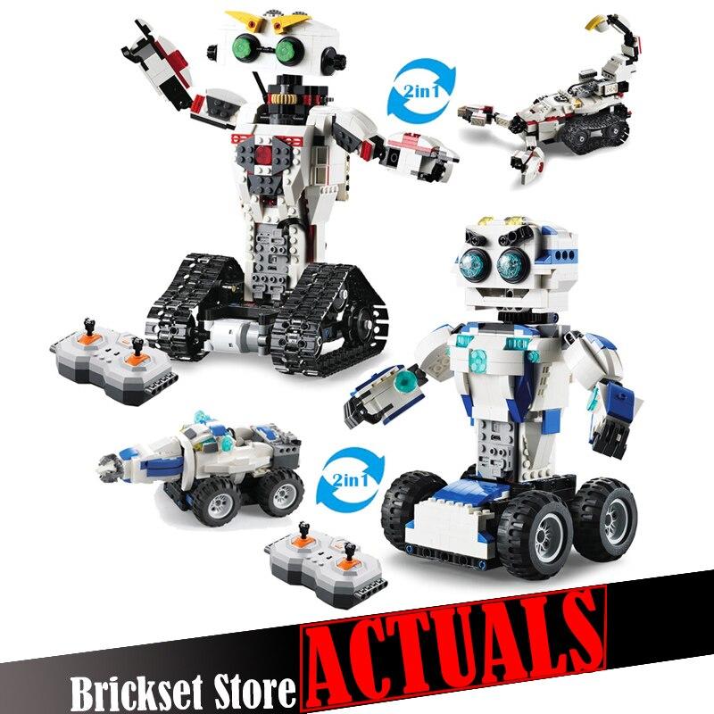 Technic espace Robot télécommande 2in1 créateur blocs de construction briques bricolage jouets éclairer pour enfants Compatible-in Blocs from Jeux et loisirs    1
