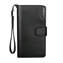 Men Genuine Leather Wallet Multifunctional Purse  Long Style Closure Zipper Money Bag More Card Slots For Business Gentleman