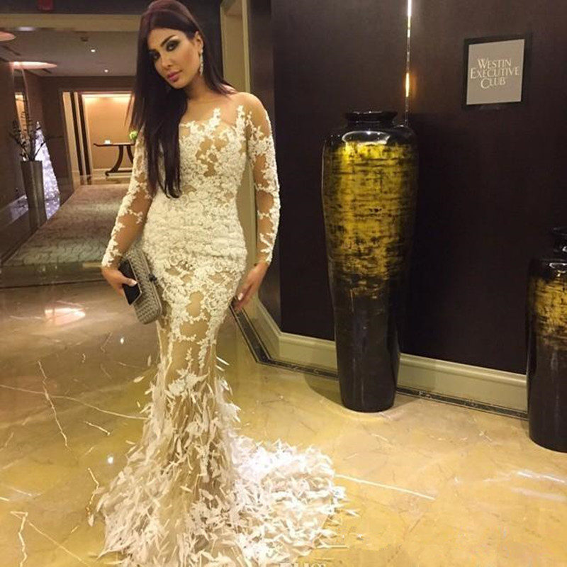 Sexy Illusion Long Sleeve Appliqued Prom Gown Vestido De Festa Lace Mermaid Evening Dresses with Feather for Wedding Party