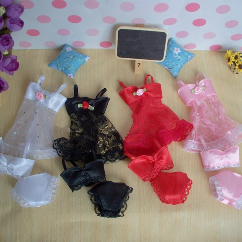 4sets/lot Attractive Pajamas Lingerie Lace Costumes + Bra + Underwear Garments For Barbie Doll Clothes Scorching Promote Lace Clothes