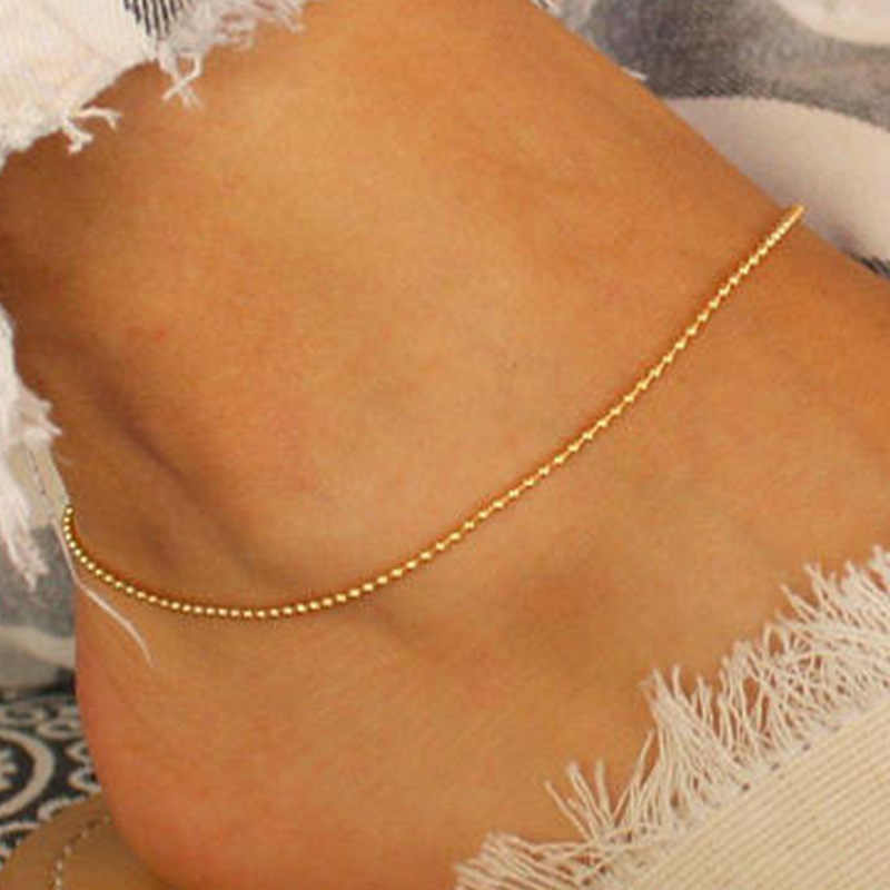 Delicate Gold Color Small Bead Ankle Chain for Women Summer Sexy Girls Anklet Bracelet on The Leg Fashion Ankle Strap Jewelry