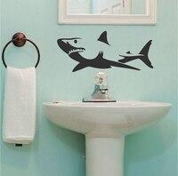 Shark Duvar Çıkartmaları Banyo Ev Dekor Çevre Dostu Vinil Duvar Sticker Oturma Odası Yaratıcı Duvar Kağıdı Adesivo de parede için ZA056