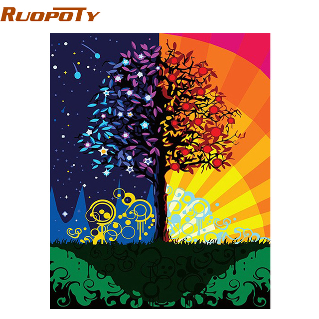 Ruopoty Frame Colorful Tree Diy Painting By Numbers Kits Wall Art