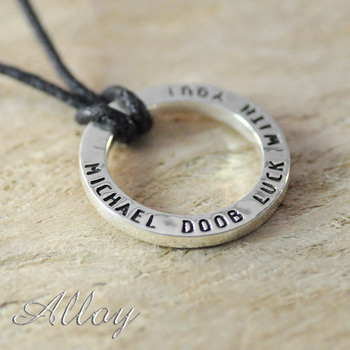 Custom Alloy necklace,circle name Pendant Stamped necklace Any Name Can Be Made valentine Graduation wax cord
