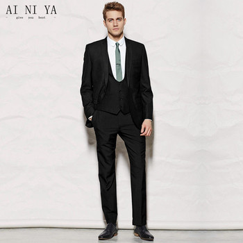 New Men's suits Black Mens Wedding Suits Groomsmen Formal Suits 3 Piece Custom Made Party Suits