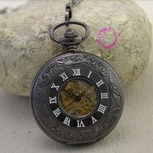 wholesale Classic Steampunk Roman Dial Mechanical Skeleton Steel Mens Black Windup Pocket Watch vintage retro Man fob watches