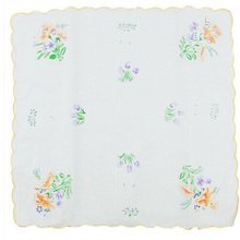 12PCS/lot Women Wash Cloth Towel Ladies 100% Cotton Handkerchief Dinner Food Face Cloth White With Flower Print Hot Selling