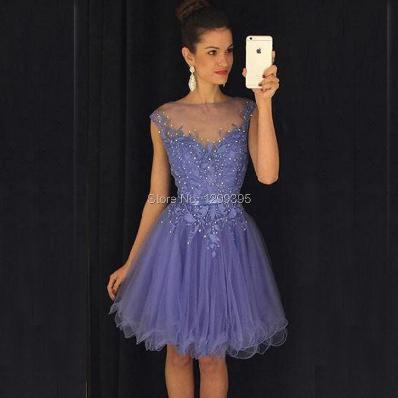 10d70e420e37 Lavender Light Purple Short Prom Dresses Semi Formal Dress 2016 with Lace  Appliques and Sequins Homecoming Dresses Robe Cocktail-in Prom Dresses from  ...