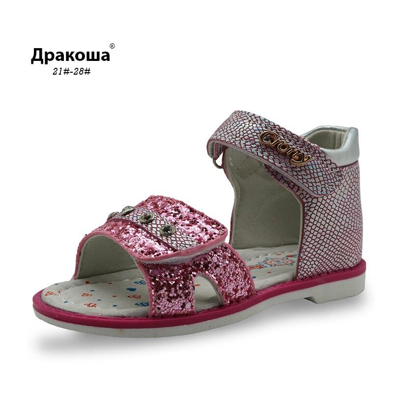 Apakowa New Summer Enfants Orthopédiques Chaussures Filles Sandales avec Arch Support Lumineux Glitter Filles Casual Chaussures Strass Décorer