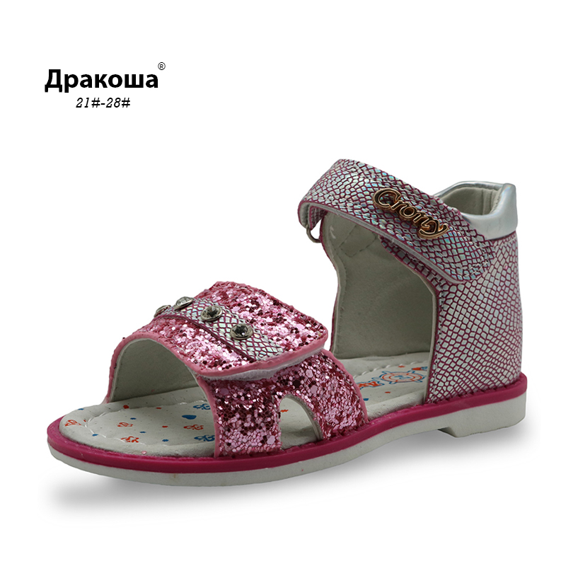 Apakowa New Summer Kids Orthopedic Shoes Girls Sandals with Arch Support Bright Glitter Girls Casual Shoes Rhinestone Decorate