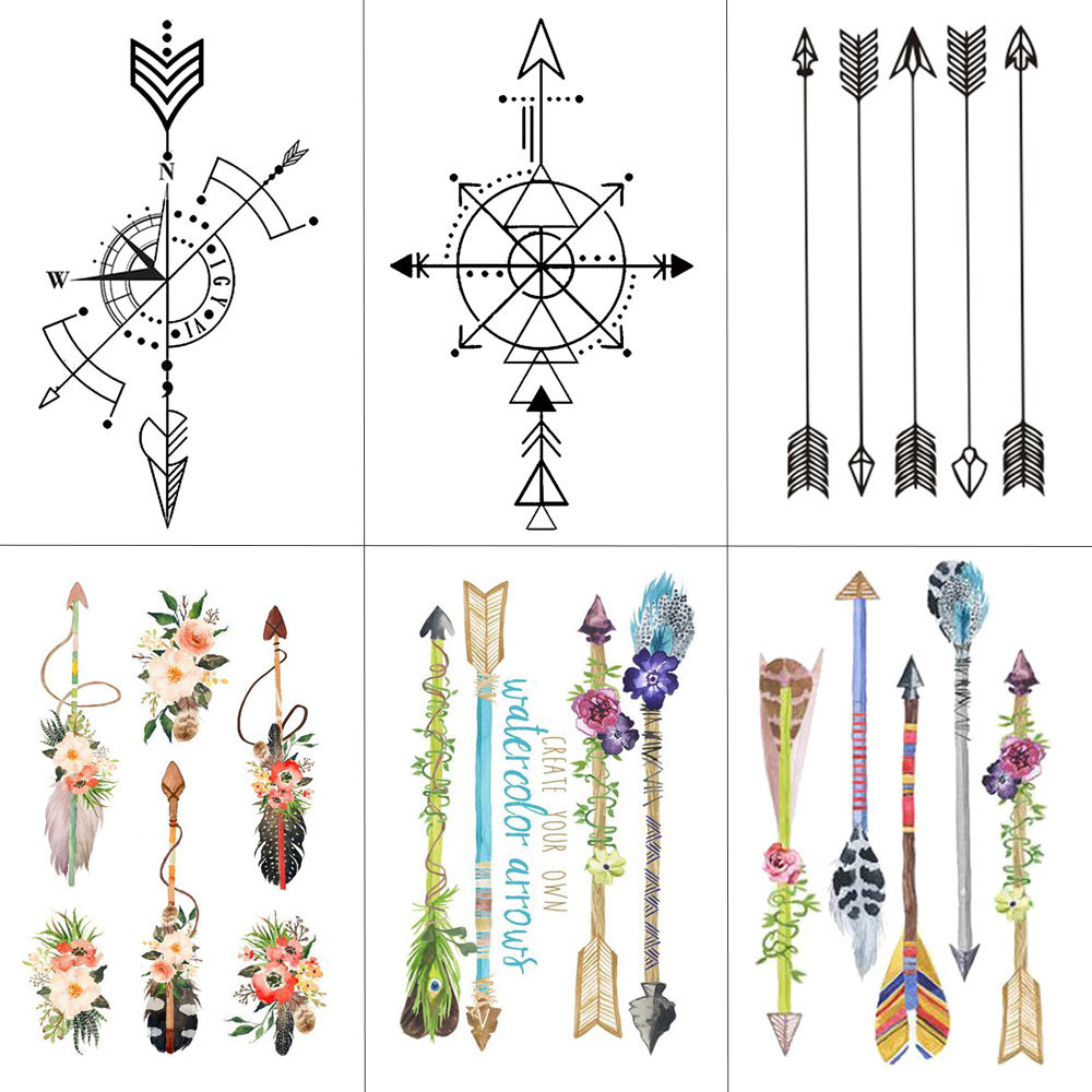 WYUEN Flower Arrow Temporary Tattoo Sticker Tattoos for Women Sexy Body Art Waterproof Men Hand Fake Tatoo 9.8X6cm AB-005 cut flowers