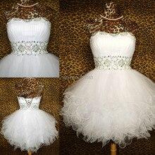 Real Sample Bilder Weiß Schatz Perlen Tüll Short Mini Abendkleid Frauen Verschiffen WH510