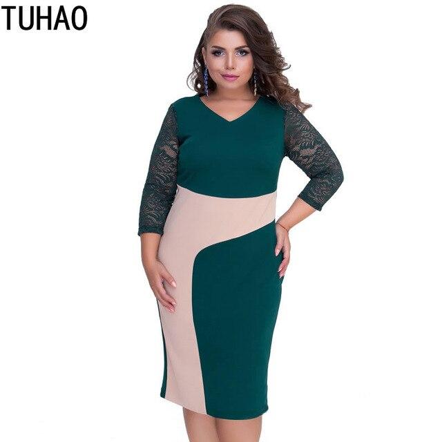 304ba0def80e TUHAO 2019 весенние женские платья карандаш с кружевным рукавом плюс размер  5XL 4XL ...