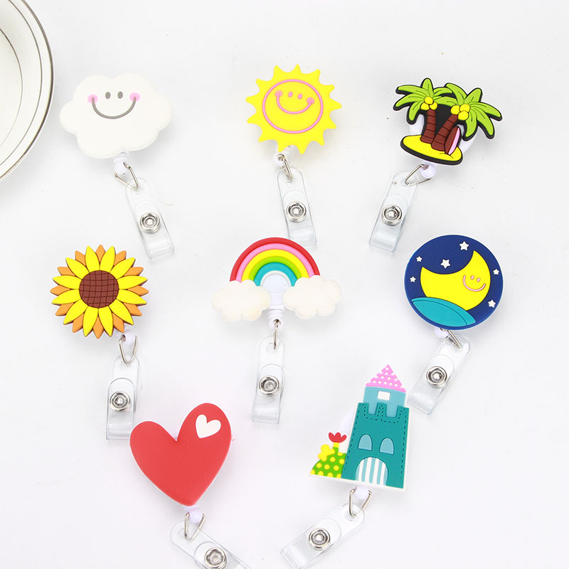 Image 2 - 8 pcs/lot Lovely Heart Clouds House Nurse Retractable Badge Reel Pull ID Card 3D Badge Holder Belt Clip Hospital School Office-in Badge Holder & Accessories from Office & School Supplies