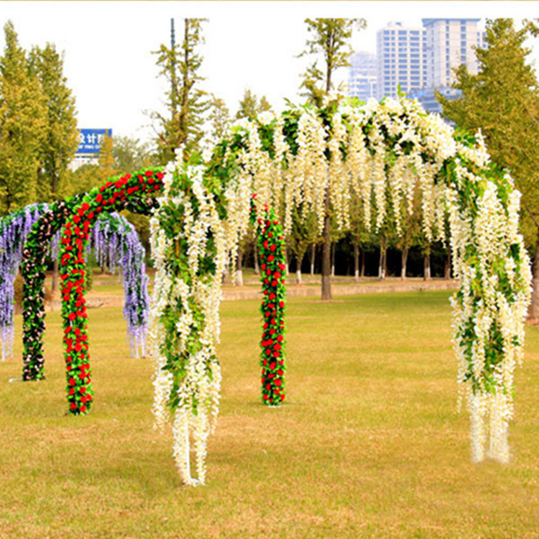 12pcs Lot 110cm Wisteria Artificial Flowers Wedding Party Festival Decoration Plastic In Dried From Home