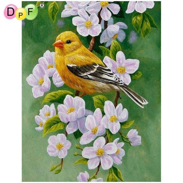DPF Diamond embroidery Flowers and birds Diamond Painting Cross Stitch Needlework home decor crafts a gift diamond Mosaic kits