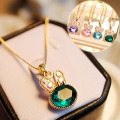 Hot Selling ! Fashion Fine Jewelry Gold plated Rhinestone Crystal Green Cute Sweet Rabbit Necklaces & Pendants For Women
