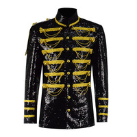 Steampunk Gothic Jacket Men's Black Sequin Costume Show Stage Performance Jacket Coat Medieval Knight Costume