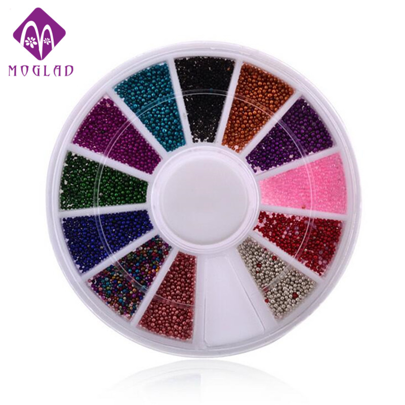 12 Color Steels Beads Studs For Nails Metal Caviar Design Wheel Charms 3D Decorations Nail Art Supplies