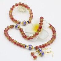 Phụ nữ thanh lịch trang sức set 10 phong cách 8 mét tự nhiên đá chalcedony jades thời trang vòng hạt vòng cổ vòng tay bông tai B2676