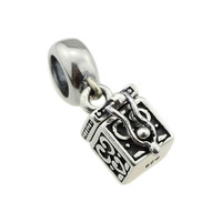 Authentic 925 Sterling Silver Charm Fine Small Treasure Chest Dangler Beads Charms Fit European Style Bracelet