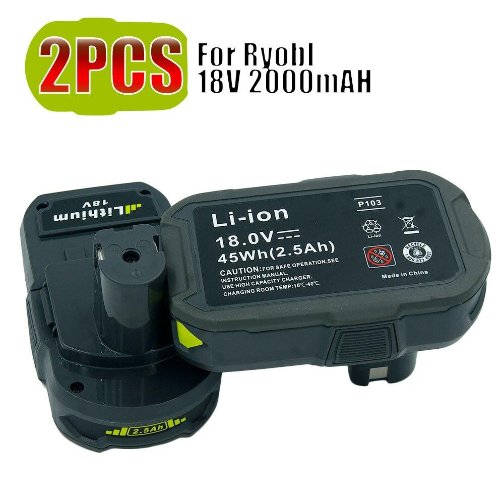 2PCS 18V 2.5A RB18L25 Lithium Ion Power Tools Drills Replacement Battery For Ryobi ONE Plus P108 P104 BPL-1815 BPL-1820G 36v 3 0ah li ion power tool battery replacement for bosch 2 607 336 108 2 607 336 108 bat810 bat836 bat840 d 70771