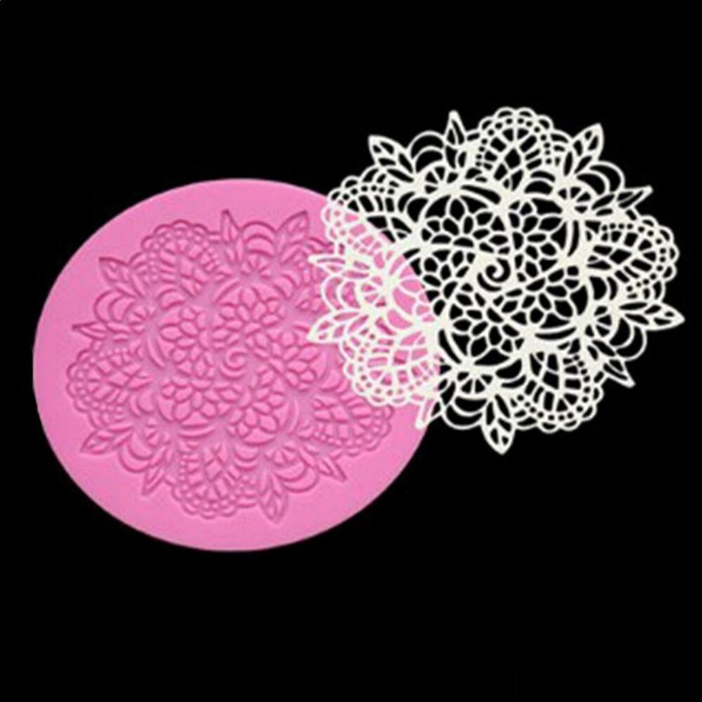 1 pçs forma de flor redonda bolo esteira de silicone sugarcraft fondant ferramentas de decoração do bolo cozinha cozimento moldes de renda de silicone