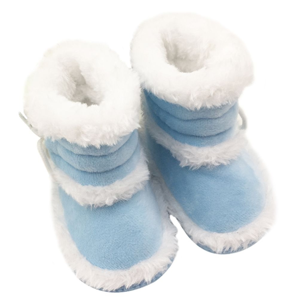 0-18 Months Toddler Baby Winter Warm Cotton Booties Cute Girls Boys Velet Comfortable Solid Color Soft Sole First Walker Boots