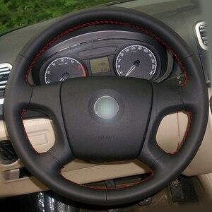 Image 2 - Capa para volante de couro preto, brilhante, costura à mão, volante, old skoda octavia skoda fabia