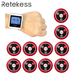 RETEKESS Wireless Waiter Calling System For Restaurant Service Pager System Guest Pager 1 Watch Receiver + 10 Call Button F3288B
