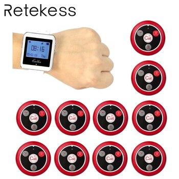 Système d'appel de serveur sans fil RETEKESS pour système de téléavertisseur de Service de Restaurant 1 récepteur de montre + 10 bouton d'appel F3288B