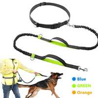 Retractable Hands Free Dog Leash For Running Dual Handle Bungee Leash Reflective For Up To 150 Lbs Large Dogs Free Bag Dispenser