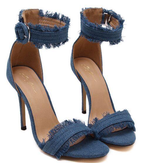 Tamaño 4 ~ 9 pantalones Vaqueros Material Tacones Altos Mujeres Bombas de Verano Cremallera Azul Zapatos de Las Mujeres zapatos de mujer 2016 (marque Longitud de Pie)
