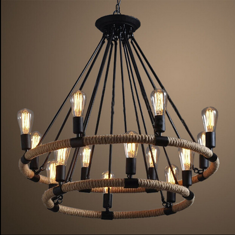 Retro Single/Double Rings Hemp Rope Pendant Lamp 6/8/14 Heads Vintage Chandeliers Lamps for Living Room/Dining Room/ Cafe Bar loft style vintage pendant lamp iron industrial retro pendant lamps restaurant bar counter hanging chandeliers cafe room