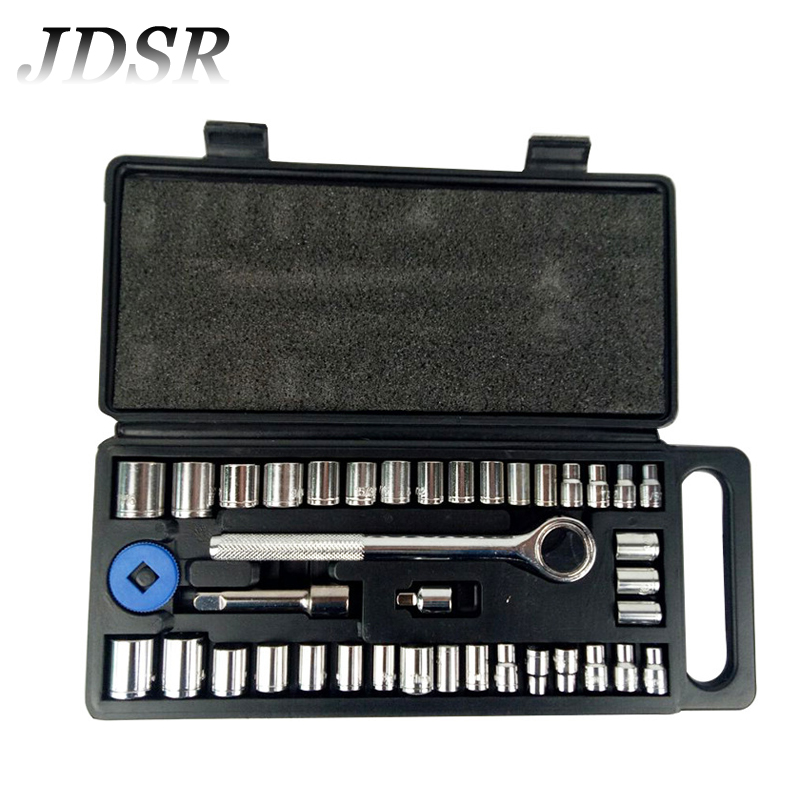 JDSR 40Pcs Ratchet Wrench Set Socket Wrench for Auto and Motorcycle Manual Repair 3/8' 1/4' Chrome Vanadium Steel Hand Tool Set mainpoint 1 4 1 2 3 8 e socket sockets set cr v torx star bit combination drive socket nuts set for auto car repair hand tool