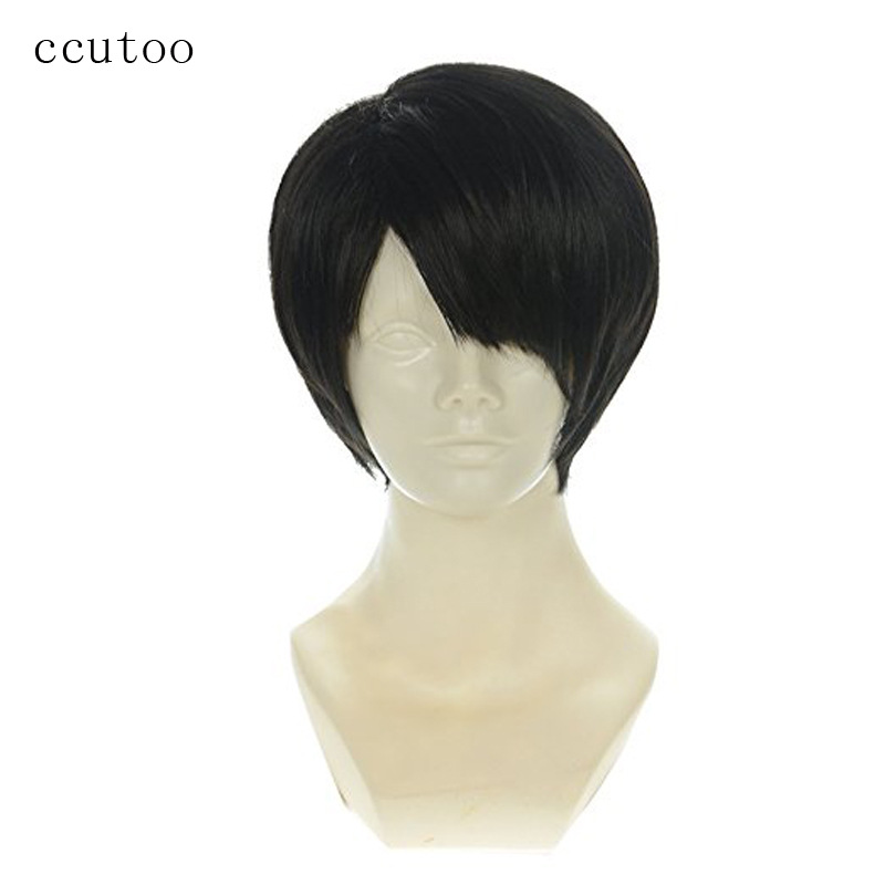 ccutoo Attack on Titan Levi Ackerman 12inch Black Short Straight Synthetic Wig For Men H ...