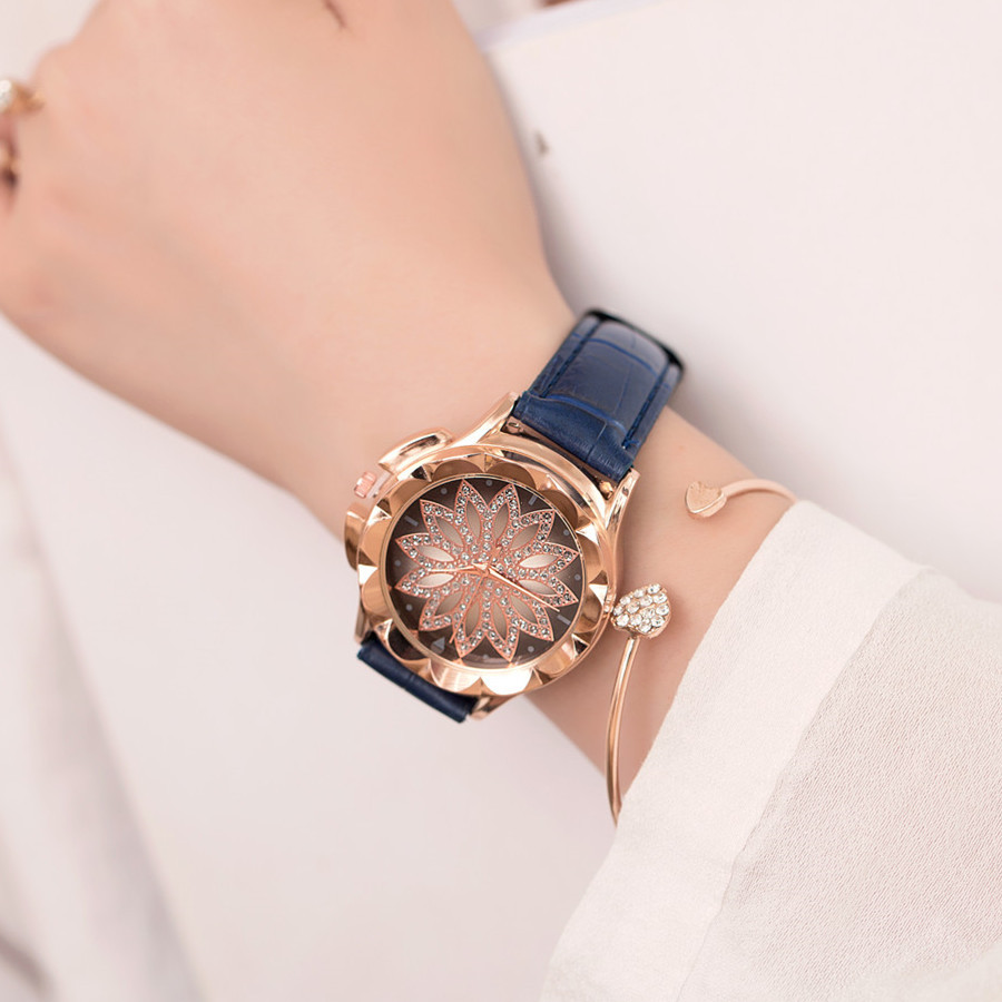 2018 New Women Watch Bracelets Vintage Retro Bracelet Watches Women Flower Rhinestone Ladies PU Leather Quartz Dress Wrist Watch vintage faux leather layered rhinestone bracelet for women