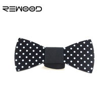 2016 Rewood Hot Selling Fashion Men Wooden Bow Tie Mens Accessories White Dot Shape Wedding Butterfly