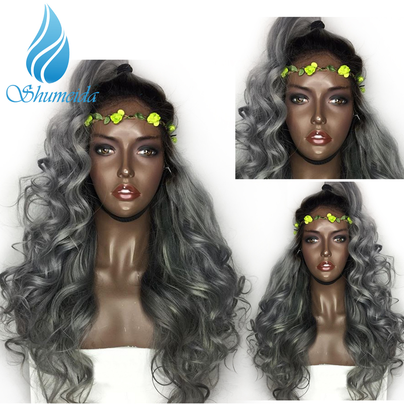 SHD 13*4 Ombre Gray Lace Front Wigs With Pre Plucekd 1b#/Grey Human Hair Wigs With Baby Hair Brazilian Remy Hair Ombre Wig 130%